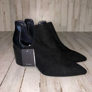 Zara Women's Black Block Heel Ankle Booties